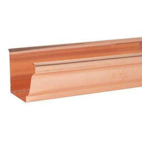 "16 Oz. 6"" x 10' K-Style Copper Gutter Straight Back"