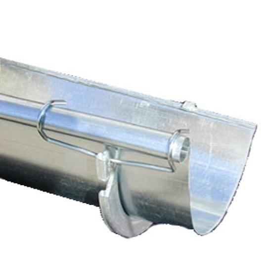 """26 Gauge 5"""" x 20' Half Round Galvanized Steel Gutter Single Bead"""