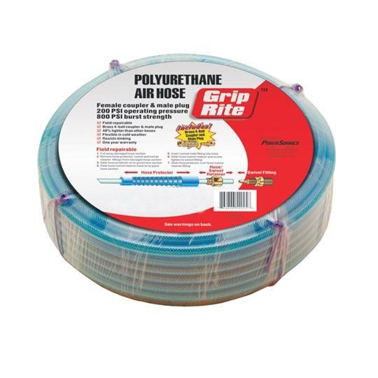 """1/4"""" x 100' Polyurethane Air Hose with Coupler & Plug"""