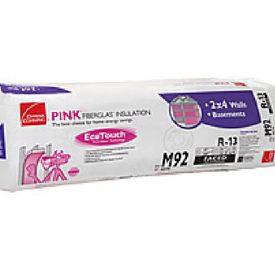 "3-1/2"" x 15"" x 105"" R-13 M92 EcoTouch® PINK® Fiberglas™ Kraft Faced Batt Insulation with PureFiber® Technology - 131.25 Sq. Ft. per Bag"