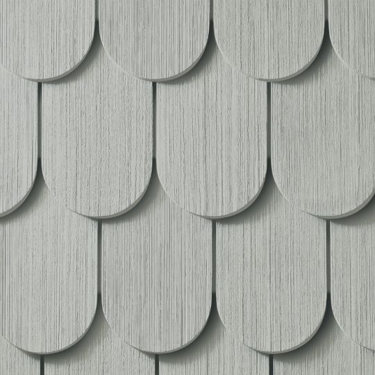 "Cedar Impressions® Double 6-1/4"" Half-Round Polymer Shingle Siding - Cedar Grain Finish"