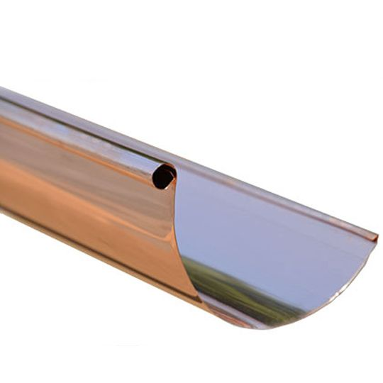 "20 Oz. 5"" x 20' Half Round Copper Gutter Single Bead"