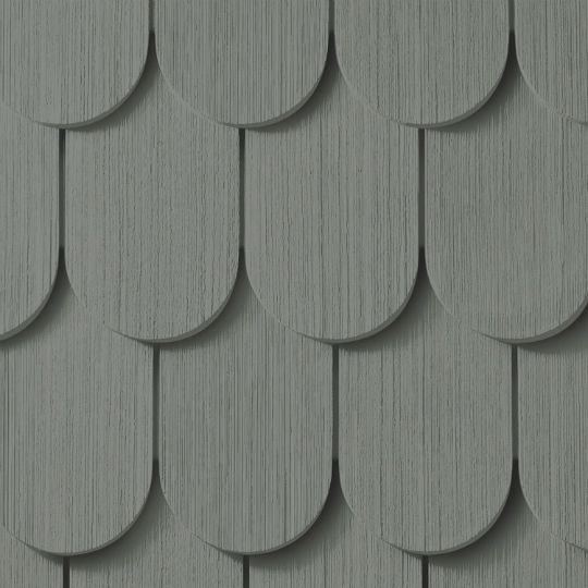 "Cedar Impressions® Double 6-1/4"" Half-Round Polymer Shingle Siding - Cedar Grain Finish"