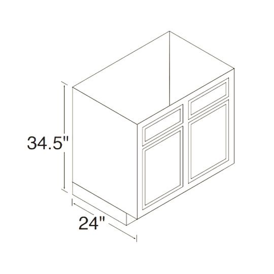 30RBS Mellowood Range & Sink Base Cabinets