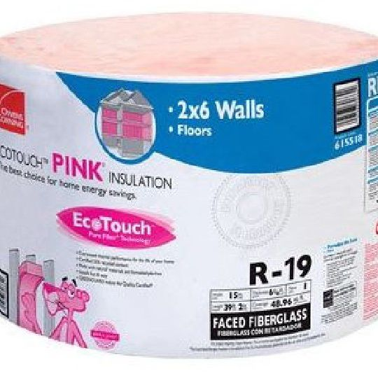 "6-1/4"" x 15"" x 39'2"" R-19 RF40 EcoTouch® PINK® Fiberglas™ Kraft Faced Roll Insulation with PureFiber® Technology - 48.96 Sq. Ft. per Roll"