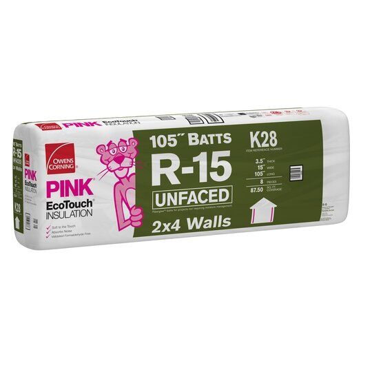 "3-1/2"" x 15"" x 105"" R-15 K28 EcoTouch® PINK® Fiberglas™ Unfaced Batt Insulation with PureFiber® Technology - 87.50 Sq. Ft. per Bag"