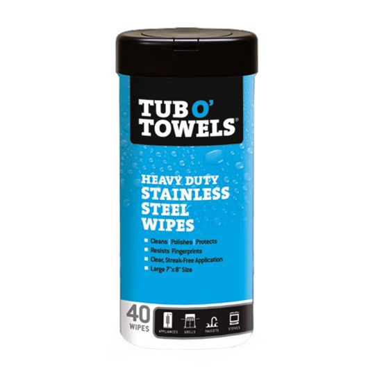 Tub O' Towels® Stainless Steel Polishing Wipes - Canister of 40