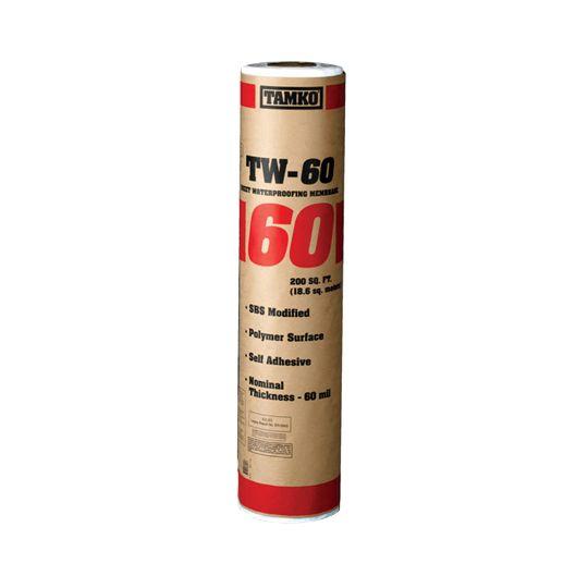 "TAMKO 39-3/8"" x 61' TW-60 Self-Adhering Sheet Waterproofing Membrane - Winter Grade"