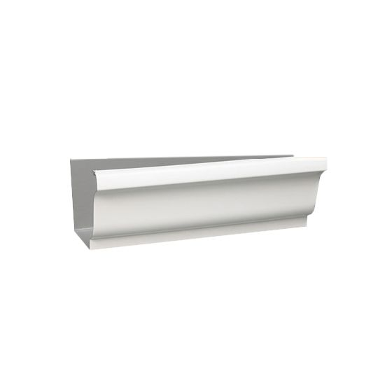 "Berger Building Products .027"" x 5"" x 10' K-Style Painted Aluminum Gutter Hemback High Gloss White"