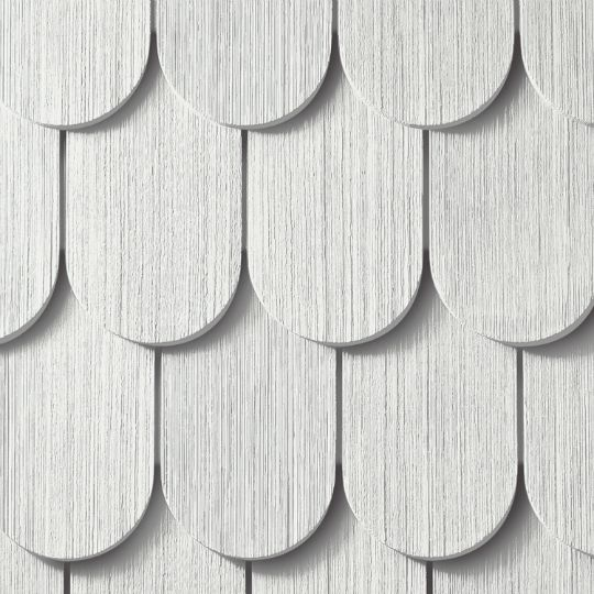 "CertainTeed Vinyl Building Products Cedar Impressions® Double 6-1/4"" Half-Round Polymer Shingle Siding - Cedar Grain Finish Sterling Grey"