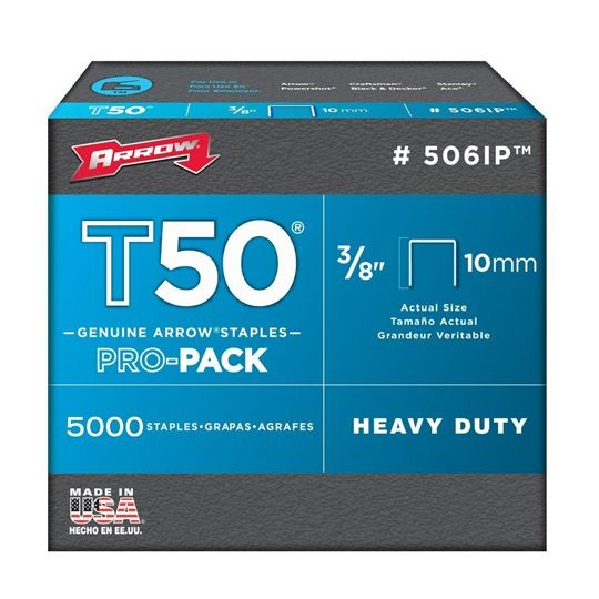 """Steel & Wire 3/8"""" Fine Wire T-50 Staples for Arrow - Box of 5,000"""
