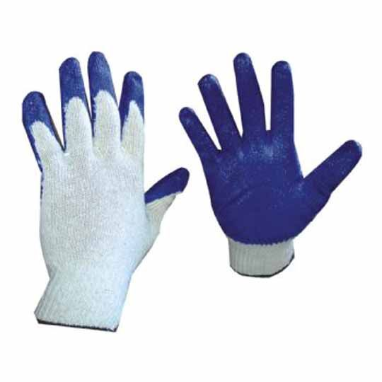 C&R Manufacturing Large Palm-Dipped Cotton Gloves Blue