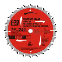 "Grip-Rite 7-1/4"" Carbide Tip 24-Tooth Premium Saw Blade"