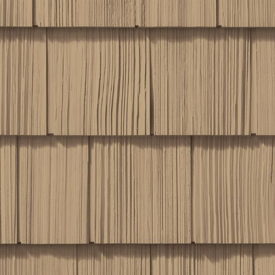 "CertainTeed Vinyl Building Products Cedar Impressions® Double 7"" Straight Edge Rough-Split Polymer Shake Siding Autumn Yellow"