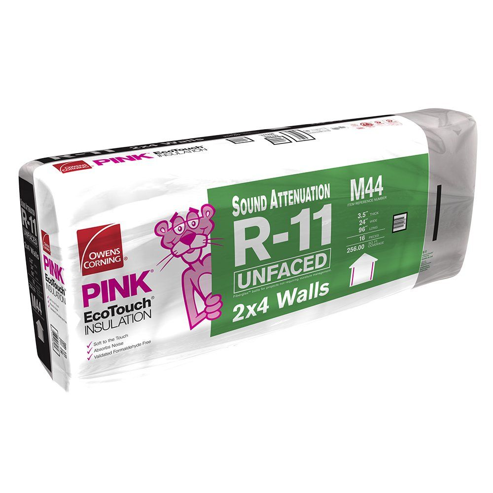 "Owens Corning 3-1/2"" x 24"" x 96"" R-11 M44 EcoTouch® PINK® Fiberglas™ Unfaced Batt Insulation with PureFiber® Technology - 256 Sq. Ft. per Bag"