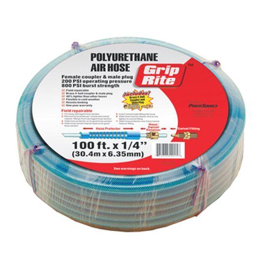 """Grip-Rite 1/4"""" x 50' Polyurethane Air Hose with Coupler & Plug"""