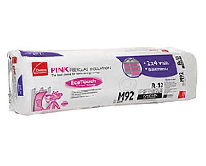 "Owens Corning 3-1/2"" x 15"" x 93"" R-13 M90 EcoTouch® PINK® Fiberglas™ Kraft Faced Batt Insulation with PureFiber® Technology - 125.94 Sq. Ft. per Bag"