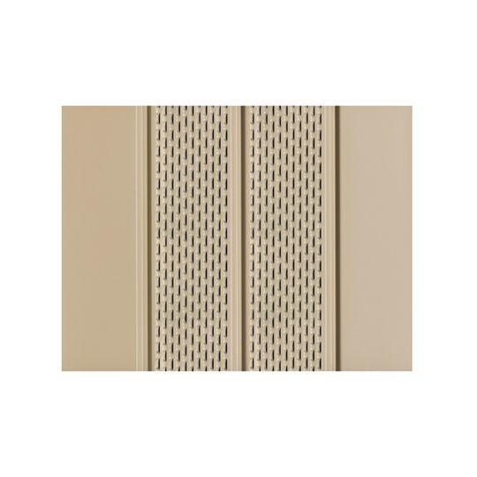 "Quality Edge .019"" x 16"" x 12' TruLine® HP-Series Aluminum Center Vented Soffit Ironstone"