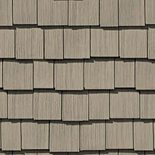 "CertainTeed Vinyl Building Products Cedar Impressions® Double 7"" Staggered Perfection Polymer Shingle Siding - Cedar Grain Finish Terra Cotta"