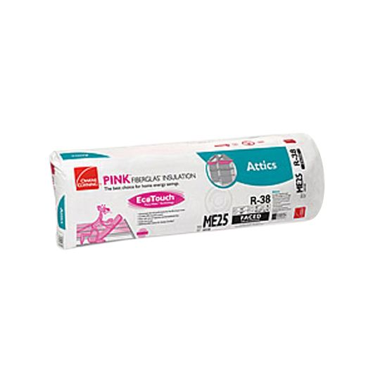 "Owens Corning 12"" x 16"" x 48"" R-38 ME25 EcoTouch® PINK® Fiberglas™ Kraft Faced Batt Insulation with PureFiber® Technology - 42.67 Sq. Ft. per Bag"