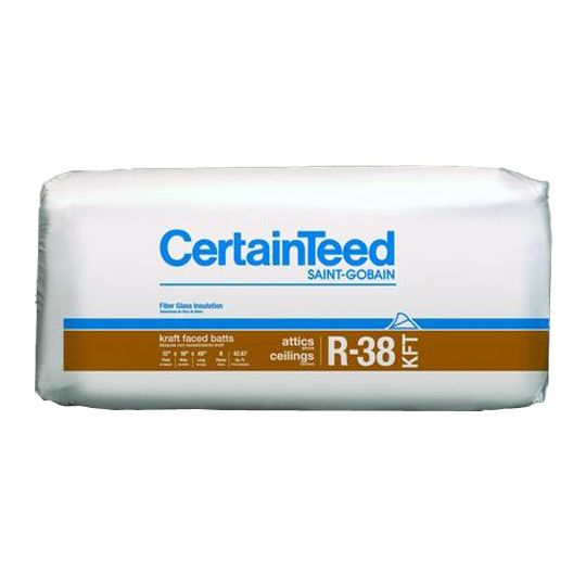 "Certainteed - Insulation 12"" x 24"" x 48"" Sustainable R-38 Kraft Faced Batts - 64 Sq. Ft. per Bag"