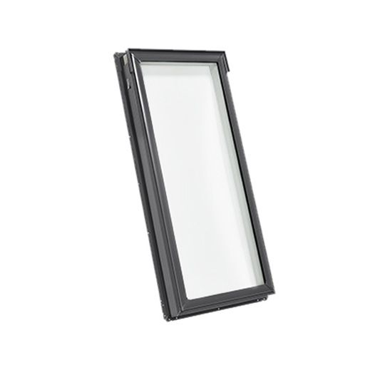 "Velux 21"" x 45-3/4"" Rough Opening Fixed Deck Mounted Skylight with Aluminum Cladding and Laminated Low E3 Glass Stain Grade Wood"