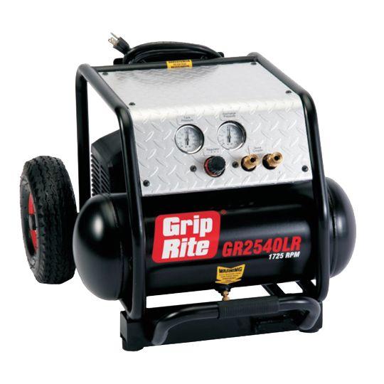 Grip-Rite 4 Gallon 2.5 HP Low RPM (1,725 RPM) Single Tank Compressor