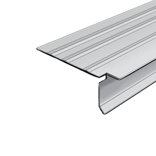 "Quality Edge 30 Gauge x 1-1/2"" x 10' Pre-Notched T-Style Steel Drip Edge Snowmist"