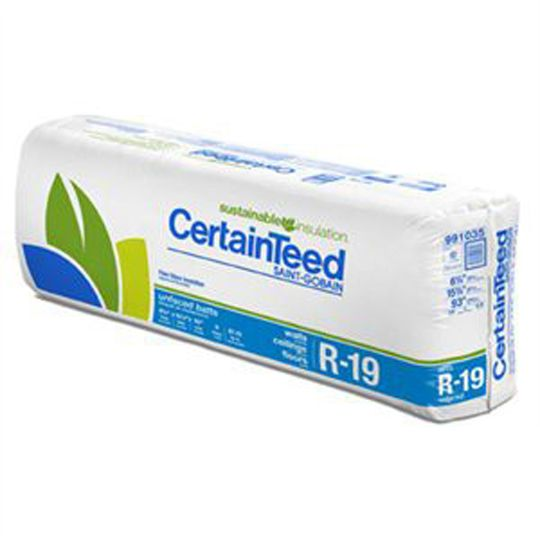 "Certainteed - Insulation 6-1/4"" x 16"" x 96"" Sustainable R-19 Unfaced Batts - 96 Sq. Ft. per Bag"