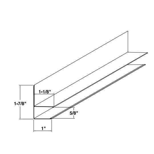 """Mastic 5/8"""" Aluminum F-Channel with 1"""" Face White"""