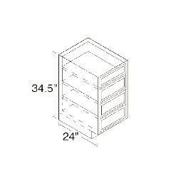 Kitchen Kompact 24D Oak Drawer Cabinet