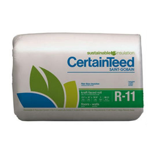 "Certainteed - Insulation 3-1/2"" x 23"" x 70' 6"" Sustainable R-11 Perforated 94"" Kraft Faced Roll - 135.13 Sq. Ft."
