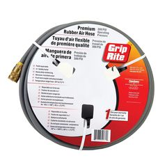 "Grip-Rite 1/4"" x 50' Premium Rubber Air Hose with Push Lock Coupler & Plug"