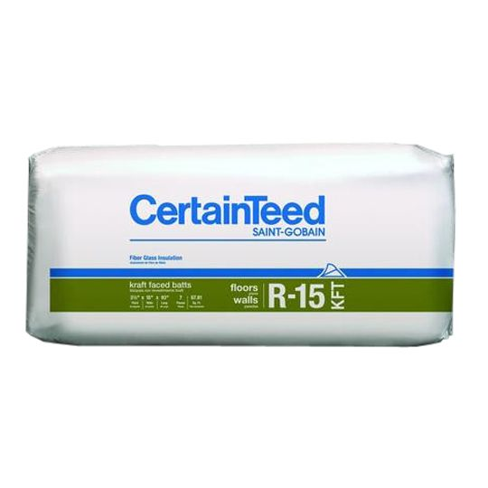 "Certainteed - Insulation 3-1/2"" x 15"" x 93"" Sustainable R-15 Kraft Faced Batts - 77.50 Sq. Ft. per Bag"