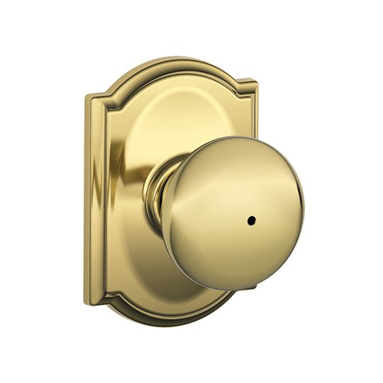Schlage F40 Plymouth Bed & Bath Privacy Knob Bright Brass