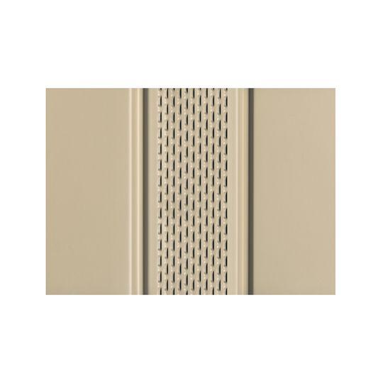 "Quality Edge 12"" x 12' TruLine® HP-Series Aluminum Center Vented Soffit Desert Tan"