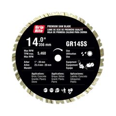 "Grip-Rite 14"" SUPER SPEED Premium Quality Segmented Blade"