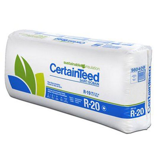 """Certainteed - Insulation 5-1/2"""" x 15-1/4"""" x 93"""" Sustainable R-20 Unfaced Batts - 77.5 Sq. Ft. per Bag"""