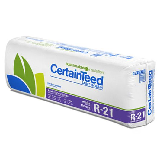 "Certainteed - Insulation 5-1/2"" x 15-1/4"" x 93"" Sustainable R-21 Unfaced Batts - 77.5 Sq. Ft. per Bag"