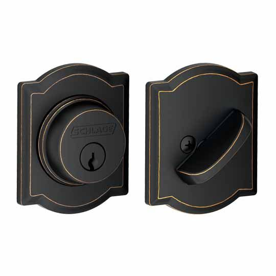 Schlage B60 Single Cylinder Deadbolt with Camelot Trim Aged Bronze