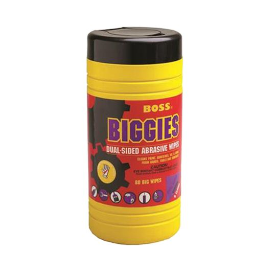 Boss Biggies Dual-Sided Abrasive Wipes - Tub of 80
