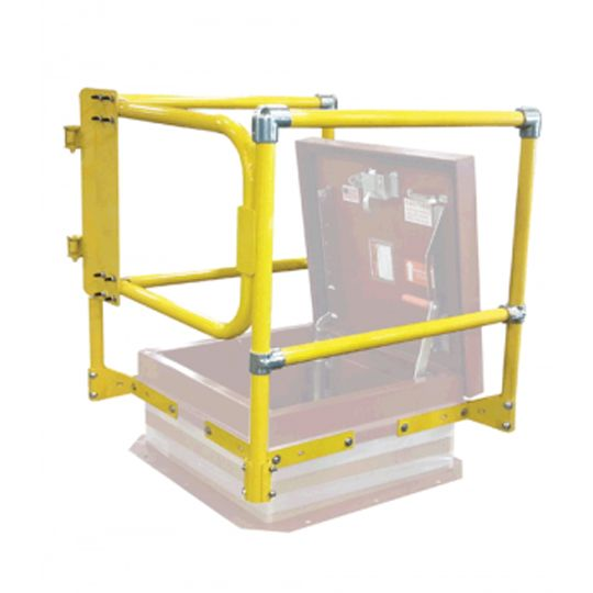 """TRI-BUILT 48"""" x 48"""" Roof Hatch Safety Railing with Front Gate Yellow"""