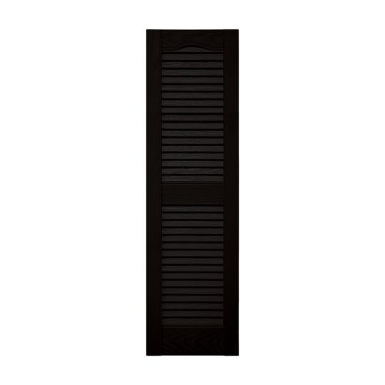 """TRI-BUILT 12"""" x 72"""" Standard Cathedral Top Open Louver Shutters (Pair) Black"""