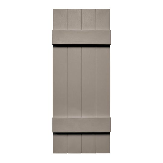"TRI-BUILT 14"" x 51"" Standard Board-N-Batten 4-Board Joined Shutters (Pair) Black"