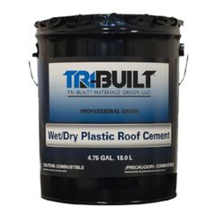 TRI-BUILT Wet/Dry Plastic Roof Cement - Summer Grade - 5 Gallon Pail