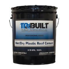 TRI-BUILT Wet/Dry Plastic Roof Cement - Summer Grade - 3 Gallon Pail