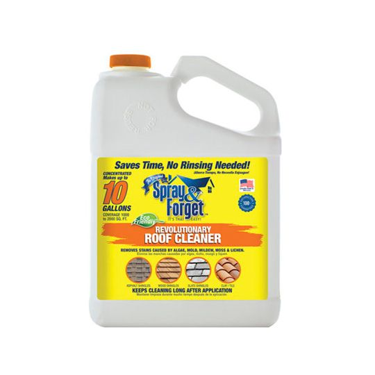 Spray & Forget Concentrated No Rinse Eco-Friendly Roof and Exterior Surface Cleaner - 1 Gallon Bottle