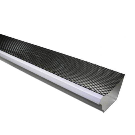 """TRI-BUILT 5"""" x 4' K-Style Lock-On Painted Galvanized Steel Gutter Guard with Fine Mesh Black"""