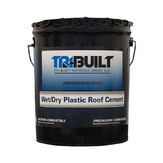 TRI-BUILT Wet/Dry Plastic Roof Cement - Summer Grade 5 Gallon Pail Black