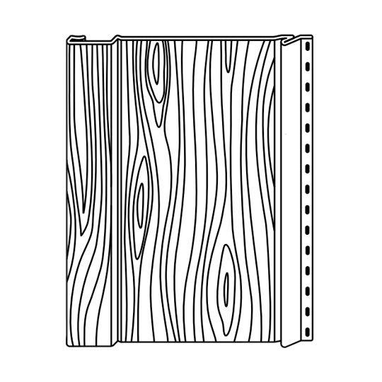 "Klauer Manufacturing Company 8"" x 10' Classic Steel Woodgrain Vertical Board & Batten Sandalwood"